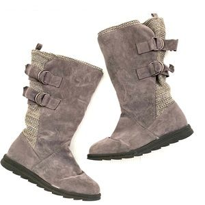 •MUK LUKS• Gray Fabric Boots with Knitting detail